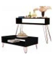 kit aparador com mesa de centro decorativa lara b01 preto pés aramado bronze - lyam decor