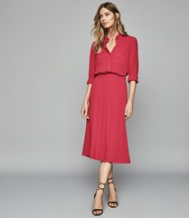reiss cleona - box pleated midi skirt in magenta, womens, size 10