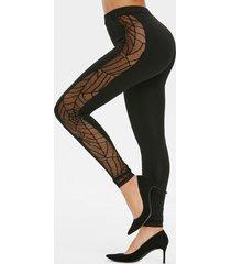spider web lace panel halloween leggings
