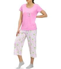 hue positive thought palm tree capri pajama pants set