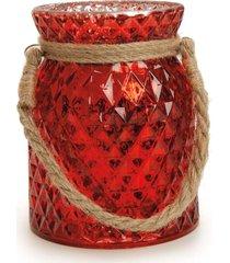 castiçal porta vela decoração natal 12cm vermelha