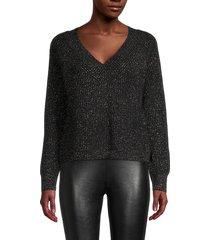 525 america women's ribbed cotton-blend sweater - black - size m