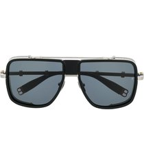 balmain eyewear x akoni side shield sunglasses - silver