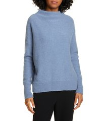 women's vince boiled cashmere funnel neck pullover, size large - blue