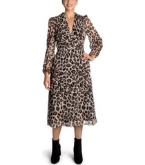 donna ricco leopard-print side-tie midi dress