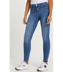 river island womens blue mid rise skinny jeans
