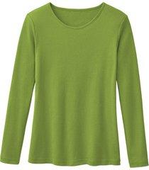 biologisch katoenen shirt met ronde hals en lange mouwen, varengroen 36/38