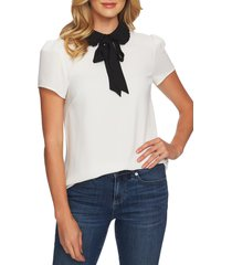 women's cece ruffle collar short sleeve blouse, size large - white