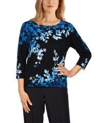 alfred dunner women's missy battery park asymmetric flowers sweater