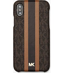 mk custodia a righe con logo per iphone x/xs - marrone - michael kors