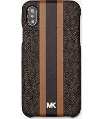 mk custodia a righe con logo per iphone x/xs - marrone - michael kors