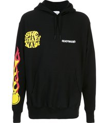 readymade long sleeve flame print hoodie - black