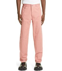 jw anderson straight fit workwear trousers, size 38 us - pink