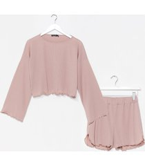 womens rib's been a long day ruffle pajama shorts set - mauve