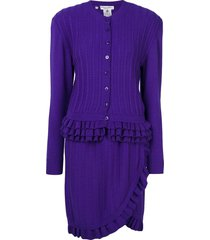 christian dior pre-owned knitted ruffle skirt suit - purple