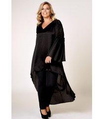 vestido negro lecol talles reales toga plus size