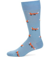 saks fifth avenue men's fox-print mid-calf socks - light blue