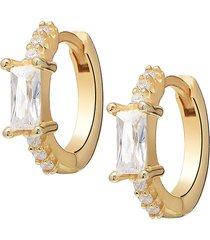 gabi rielle women's i heart you collection 14k gold vermeil sterling silver & crystal baguette huggie earrings