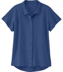 linnen-jersey blouse, nachtblauw 40/42