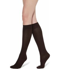 calzedonia - long ribbed socks with cotton and cashmere, 36-38, brown, women