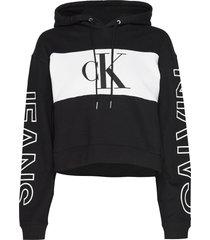 blocking statement logo hoodie hoodie svart calvin klein jeans
