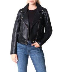women's blanknyc good vibes faux leather moto jacket, size x-large - black