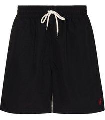 polo ralph lauren logo embroidered swim shorts - black