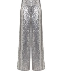 ashish sequinned palazzo trousers - silver