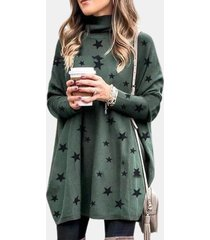 camicetta casual da donna a maniche lunghe con collo alto e stampa stelle