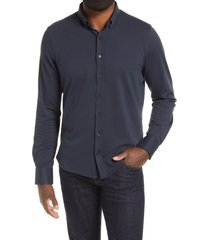 men's stone rose pique knit performance button-down shirt, size 2 - blue