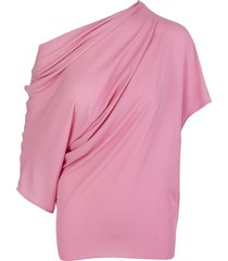 pink asymmetric ruched top