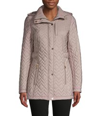 calvin klein women's quilted hooded jacket - black - size xs