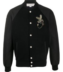 alexander mcqueen dragon embroidered bomber jacket - black