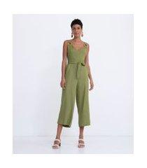 macacão longo em viscolinho com argola de palha na alça e bolsos frontais | marfinno | verde | g