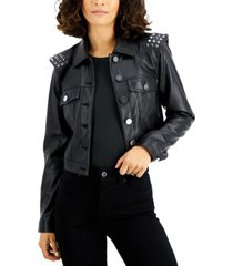 bar iii studded-shoulder faux-leather jacket, created for macy's