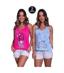 kit 2 pijama bella fiore modas short doll tal máe multicolorido
