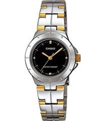 reloj casio ltp-1242sg-plateado con negro para mujer