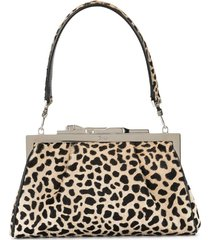 cartier pre-owned panther plaque leopard clutch - brown