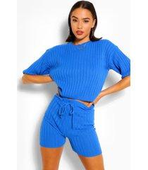 ribgebreide top & shorts set, kobalt