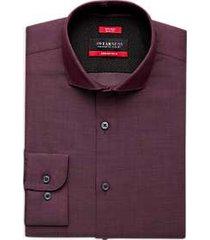 awearness kenneth cole awear-tech burgundy slim fit dress shirt