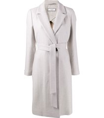 peserico belted single-breasted coat - grey