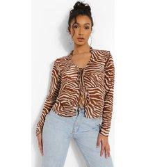 geweven blouse met strik, brown