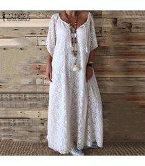 zanzea vestido largo largo de croché de encaje con cuello en v vestido de vacaciones de verano en la playa talla grande -blanco