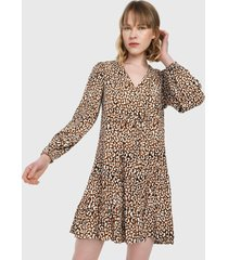 vestido marrón-blanco-negro mng