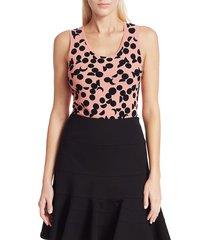 akris punto women's luna dot-print sleeveless knit top - peach pink - size 4