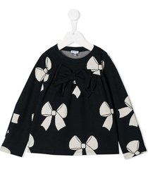 piccola ludo bow print sweatshirt - blue