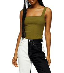 women's topshop square neck ribbed bodysuit, size 4 us (fits like 0-2) - green