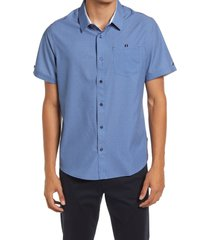 7 diamonds painted memory short sleeve performance button-up shirt, size large in blue at nordstrom