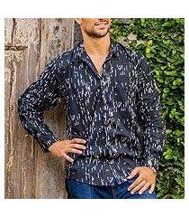 men's cotton long-sleeved shirt, 'rapids' (indonesia)