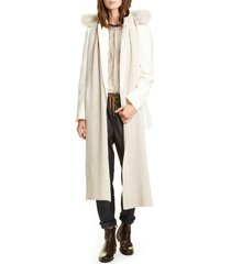 women's brunello cucinelli hooded cashmere scarf with genuine goat fur trim, size one size - beige